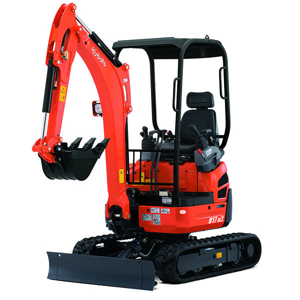 Kubota U17-3A Excavator; 4 Post Canopy; Rubber Tracks; Variable Undercarriage