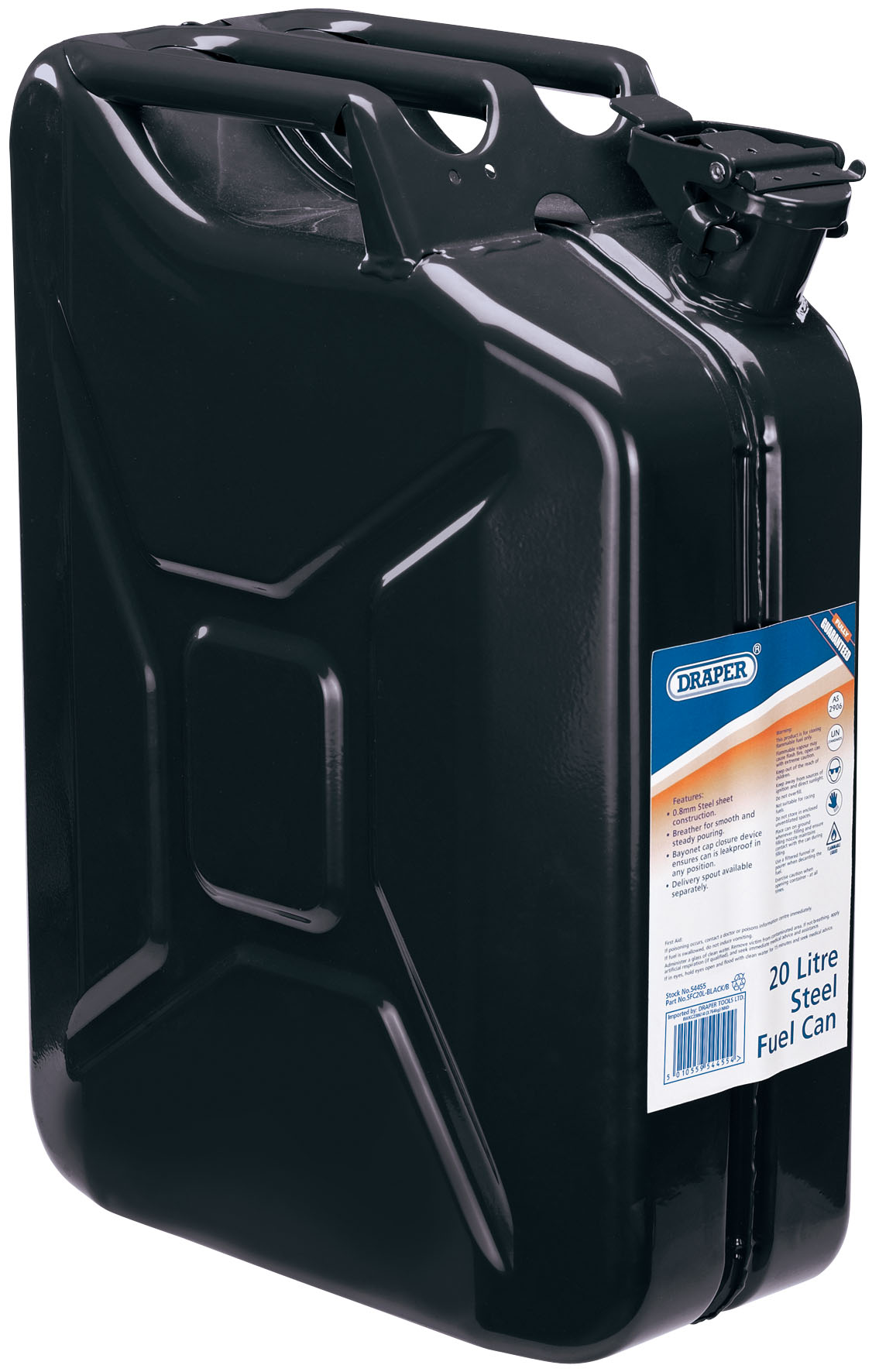 20L BLACK STEEL FUEL CAN